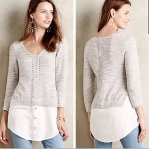 Moth Aselin Gray White Shirttail Sweater Sz S